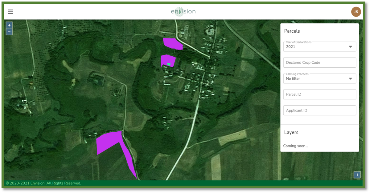 ENVISION dashboard (organic – green, conventional – purple parcels)